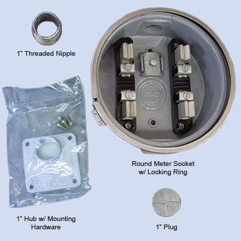 Image of RV pedestal conversion kit and RV meter socket kit