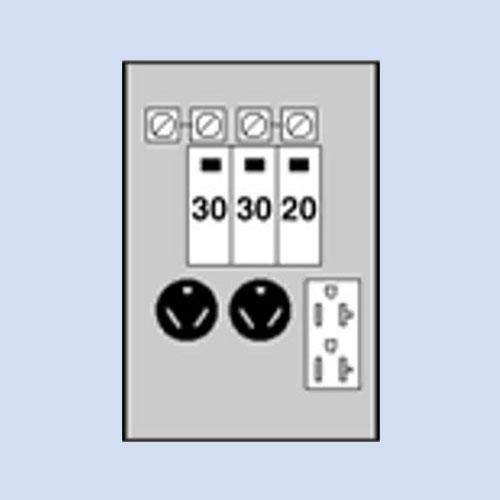 Image of U611CTL010 Midwest RV surface box 30/30/20 receptacles, loop-fed lugs
